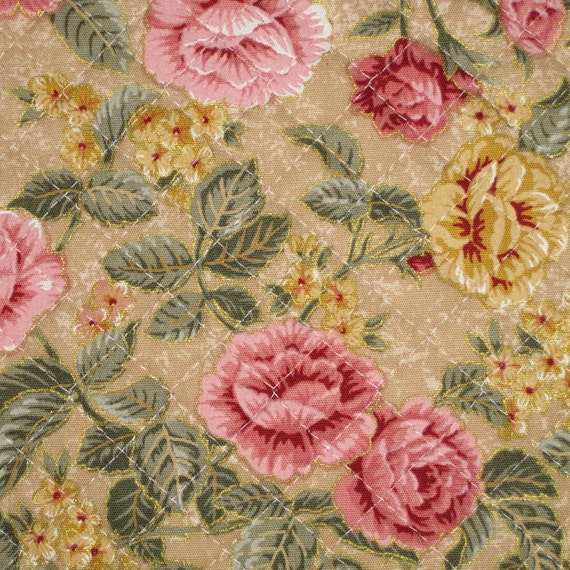 Pre Quilted Fabric Half Meter Cut Roses Shabby Chic Design