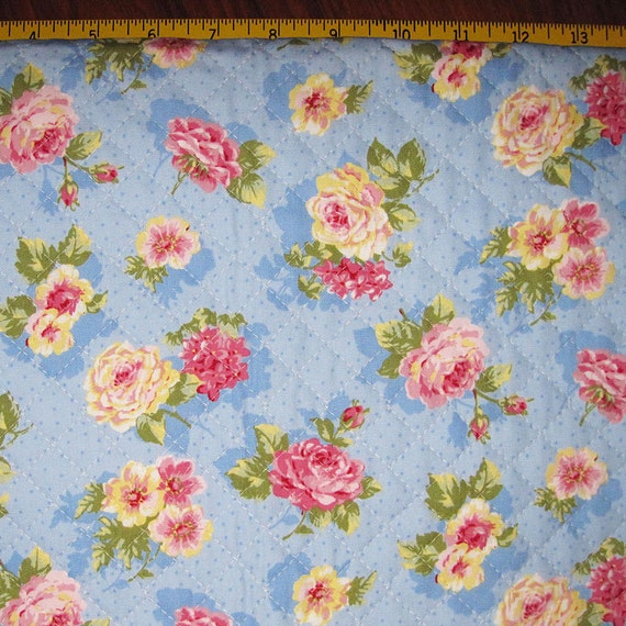 Pre Quilted Fabric Half Meter Cut Roses Design Sky Blue