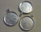 6 - 26mm white silver round bezel pendants