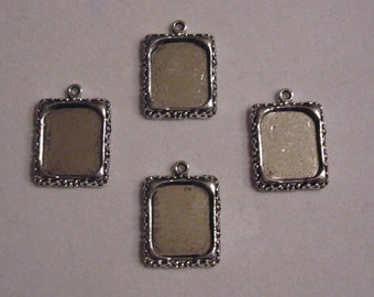 12 silver tone picture frame charms