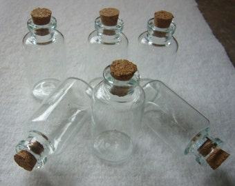 6 40x20 glass bottle charms with cork stoppers