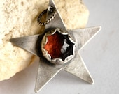 SALE - Hand Forged Sterling Silver and Fused Glass Star Pendant Only  - Ready To Ship