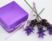 Gift boxes lavender purple Ribbon trimmed handmade square favor box - set of 4