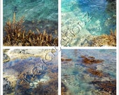 Beach theme Sea water photographic print Turquoise aqua teal