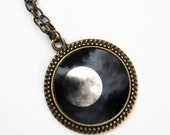 Moon photo Pendant black and white art, moon print pendant, antique bronze plated necklace, mystical full moon jewelry, wearable art jewelry