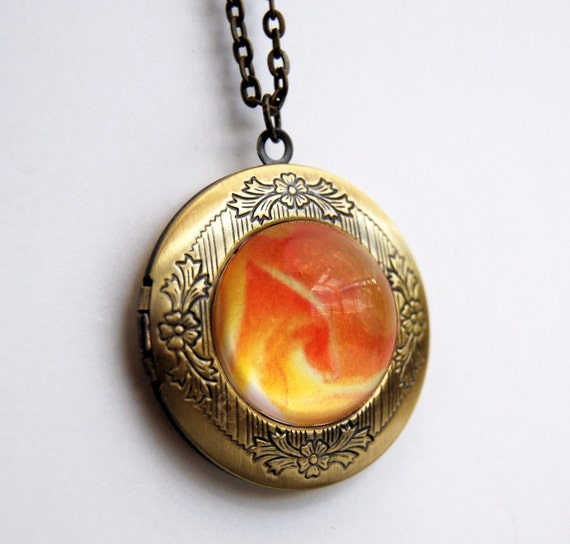 Locket photo Pendant with yellow rose print Victorian Brass necklace glass dome, wearable art, feminine jewelry