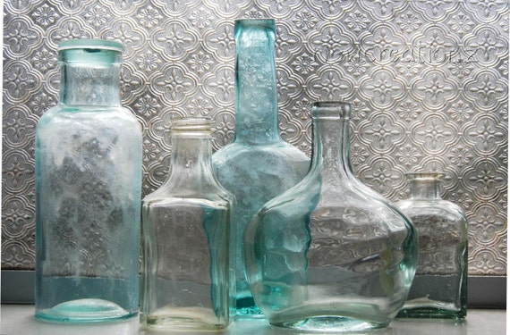 New Zealand Glass bottles print still life glass photography, vintage bottle collection, NZ home decor, turquoise teal wall art home decor