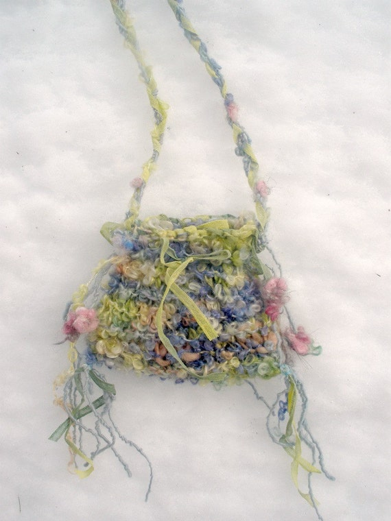 spring flower fairy - rustic handknit treasure bag from the forest