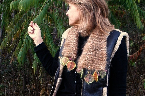 carried away by the west wind - rustic handknit scarf from the forest