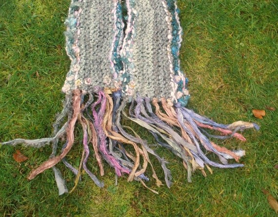 whispers in her watercolour world - rustic handknit scarf of beautiful softness from the forest - on sale