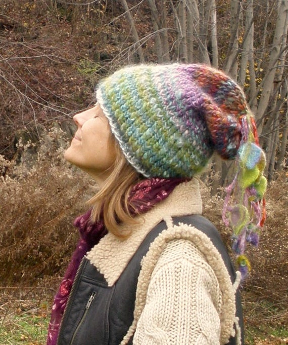 mellow meadow fairy - rustic soft handknit slouchy fairy hat