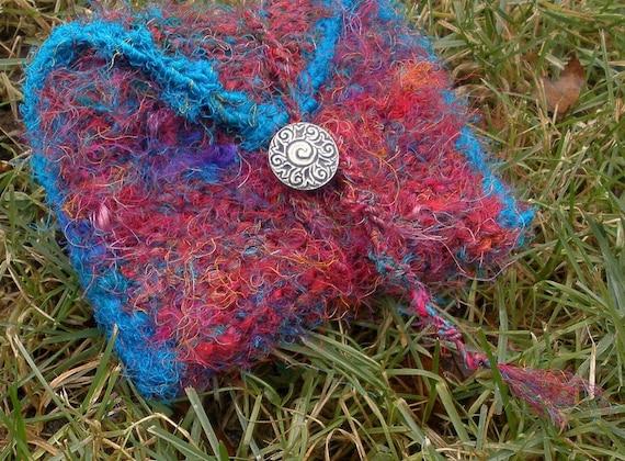 rustic handknit silk pouch