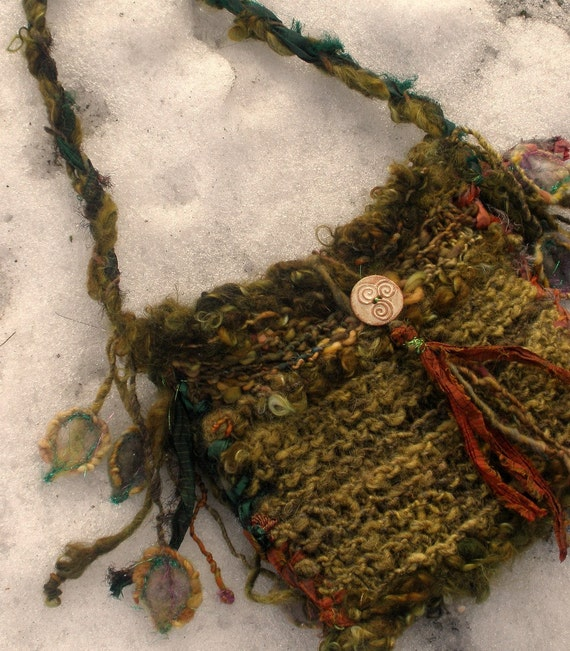lady of the leaves - rustic handknit elven forest bag
