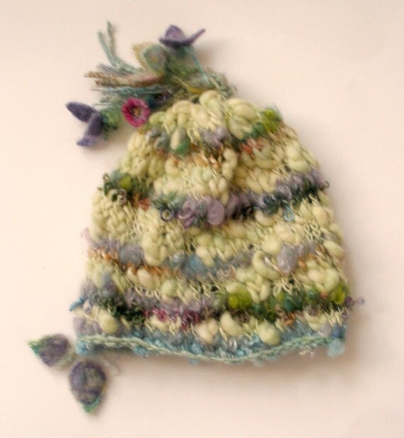 dream flower fairy  - rustic and airy, soft handknit fairy hat
