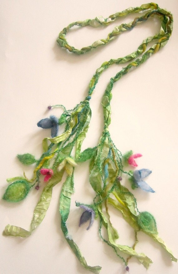rustic enchanted forest silken fiber braid/lariat -  secret garden forest wildflowers