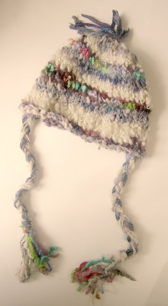 rustic, curly and soft  handknit hat - mountain shepherdess imaginary sister