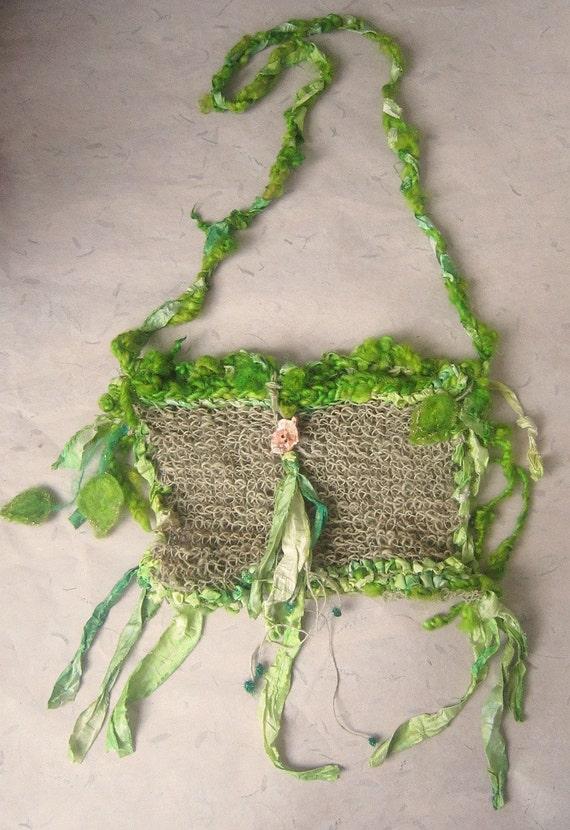 rustic handknit hemp shoulder/tote bag -  wandering elven groves