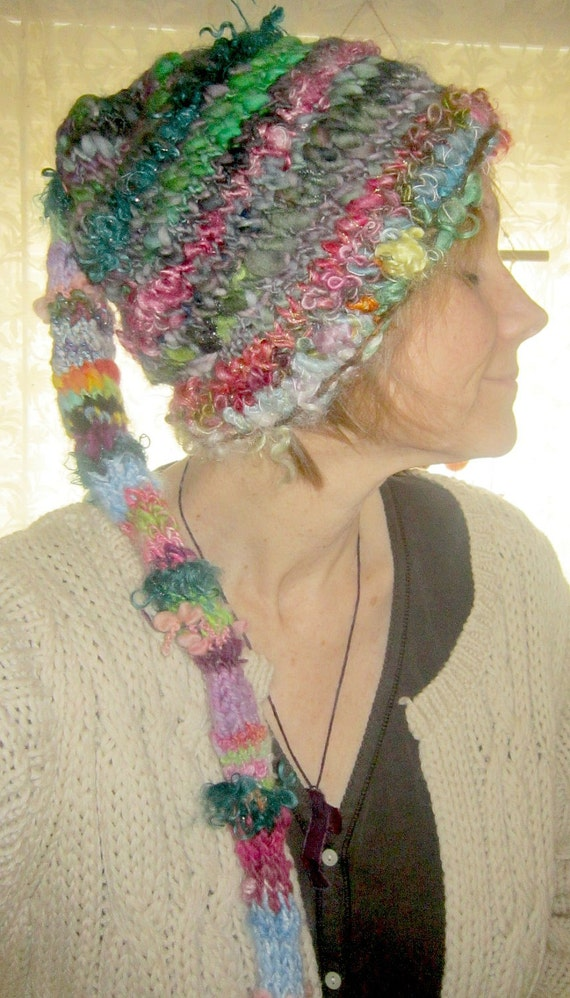 handknit rustic fairy patchwork hat from the enchanted forest