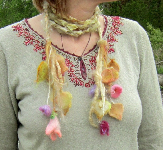 rustic enchanted forest fiber braid/lariat/sash -  meadow morning enchantment