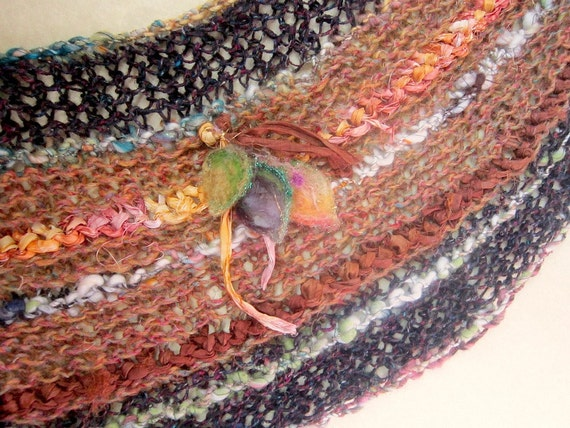 RESERVED - autumn rustic handknit silk and wool wrap shawl scarf from the enchanted forest - earth maiden