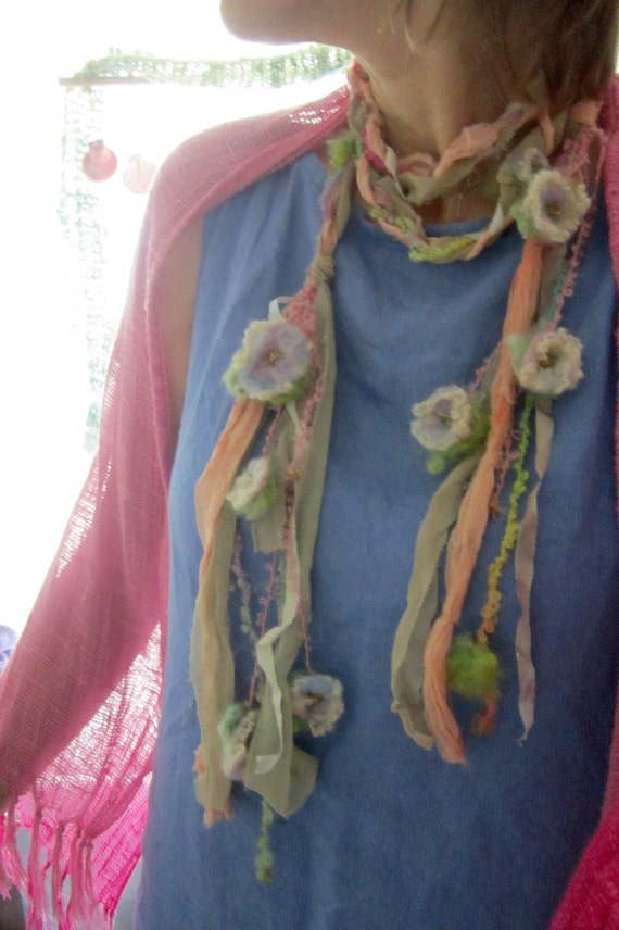 secret garden fairy flower fantasy - silky adornment/scarf/lariat from the enchanted forest