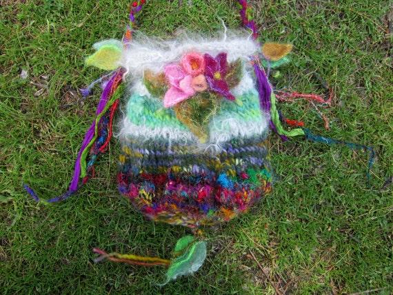 shoulder bag handknit elven forest faerie bag - anastasia's holiday