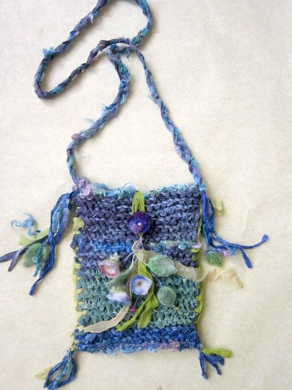 rustic handknit cotton fairytale shoulder bag - summertime daydream