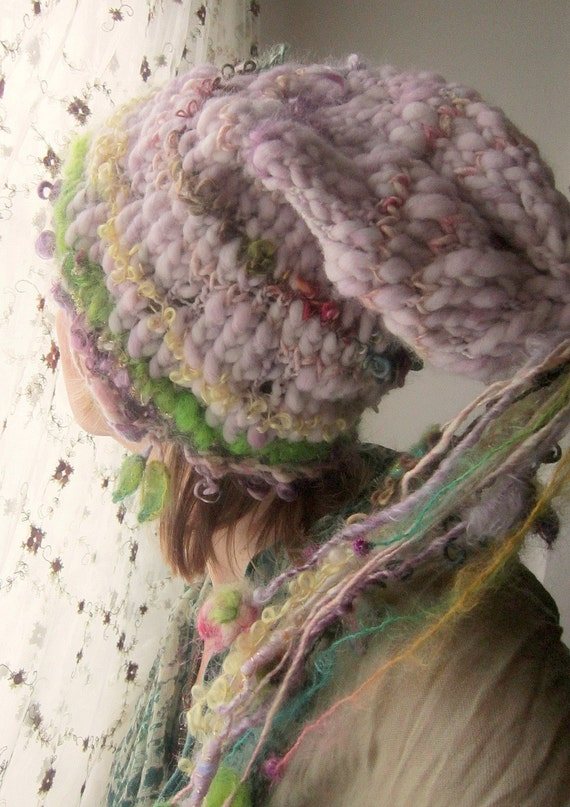 rustic, soft handknit slouchy fairy hat - morning enchanted dream