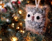 Crocheted Owl on Branch Ornament