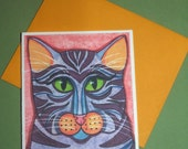 Cat Note Card Blank Kaliedescope II Original Design Illustration