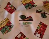 Very Retro Vintage Travel Advertising Themed Fabric