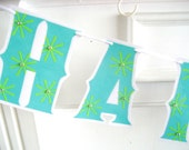 Clearance SALE - Was 20 Now 10 -HAPPY BIRTHDAY Banner - aqua and lime bursts with rhinestones