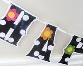 HAPPY BIRTHDAY Banner - black and white POLKA DOTS with FLOWERS