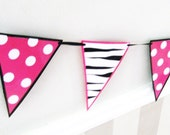 ZeBRA and MiNNIE style Pennant Garland black hot pink match Happy Birthday Banner