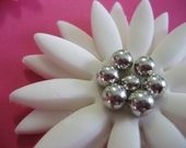 12 Edible Fondant Cupcake or Cake Toppers - White Gerber Daisy with Silver Balls
