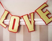 Photo Prop Wedding, Engagement, Announcement, Anniversary LOVE Banner - Gold Glitter on Red