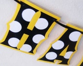 HaPPY BiRTHDAY Banner - BlACK and WHiTE POlKA DOtS on a Mellow Yellow