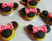 Minnie Cupcake Toppers -  Bow - Edible Fondant Hot Pink Polka Dots
