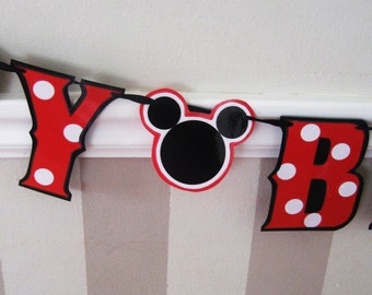 HAPPY BiRTHDAY Banner - Red with White polka dots