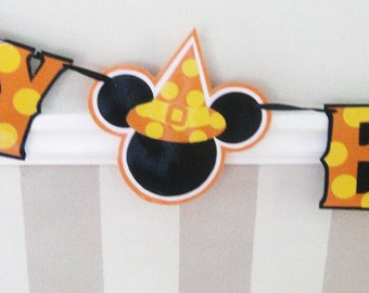 Mickey Mouse Halloween Birthday Banner, Halloween Mickey Mouse Birthday Decor, Mickey Halloween Party Banner, Halloween Birthday Banner