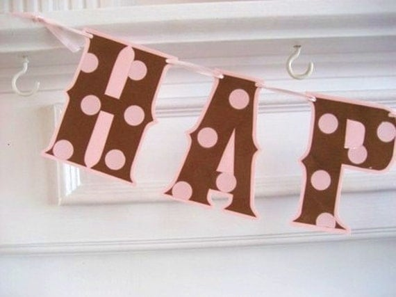 HAPPY BIRTHDAY Banner - Pink/Brown polka dots