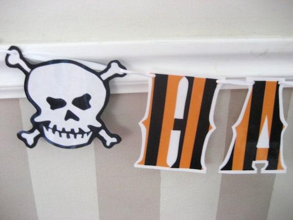 HAPPY HALLOWEEN Banner - orange/black Stripes with Skull and Crossbones