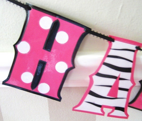 Items Similar To Minnie Mouse Zebra HAPPY BiRTHDAY Banner