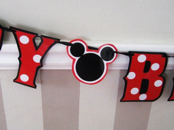 Mickey Mouse Themed Birthday Banner, Mickey Mouse Party, Minnie Mouse Themed Birthday Party, Minnie Mouse Party Banner, Mickey Mouse Decor