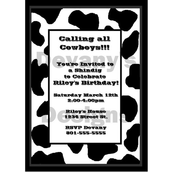 Cowboy or Cowgirl BiRTHDAY INViTATION - Printable - Black and White Cow Print