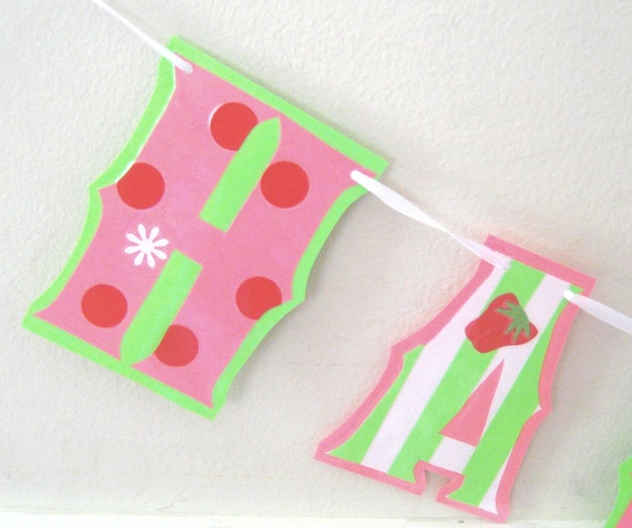 Clearance Sale - Strawberry Shortcake Inspired HAPpY BiRTHDAY Banner - Pink and Green Stripes and Polka Dots