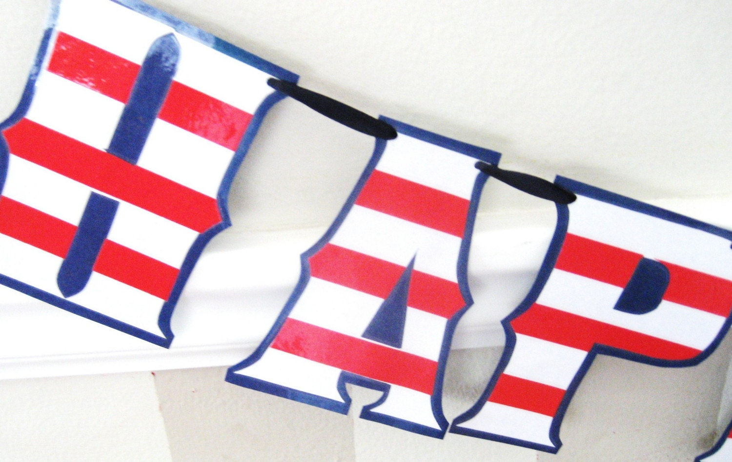 happy birthday banner red white and blue flag stripes. Black Bedroom Furniture Sets. Home Design Ideas