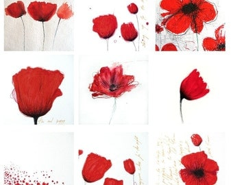 Red Poppies - collection of 9