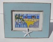 Original beach painting, Free Shipping, aqua, beach cottage decor, shabby chic, distressed, sea shells, starfish, framed art
