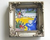 Miniature White Cat and Eiffel Tower Painting, original, acrylic, French Country, silver frame